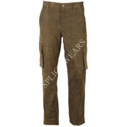 Cargo Leather Pants Antique Buffalo Leather Brown