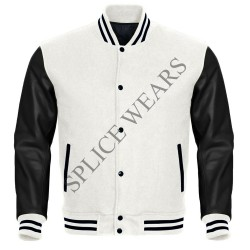 white Wool Black Real Leather Sleeves Varsity Bomber College Letterman Jacket