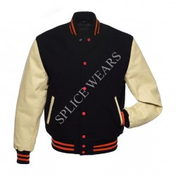 Black Wool Real Cream color Leather Sleeves Varsity Bomber College Letterman Jacket