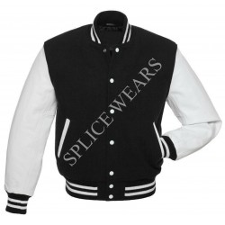 Black Wool Real White color Leather Sleeves Varsity Bomber College Letterman Jacket