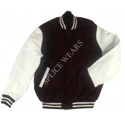 Maroon Wool White color Leather Sleeves Varsity Bomber College Letterman Jacket