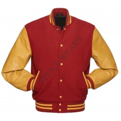 Red Wool Gold color Leather Sleeves Varsity Bomber College Letterman Jacket